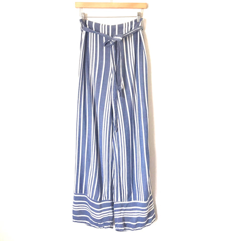 "Express Blue and White Striped Flowy Pants- Size S (Inseam 29 1/2"")"