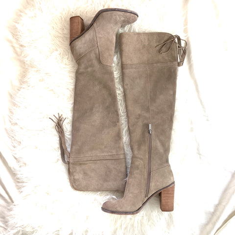 Franco Sarto Light Grey Over the Knee Booties- Size 8