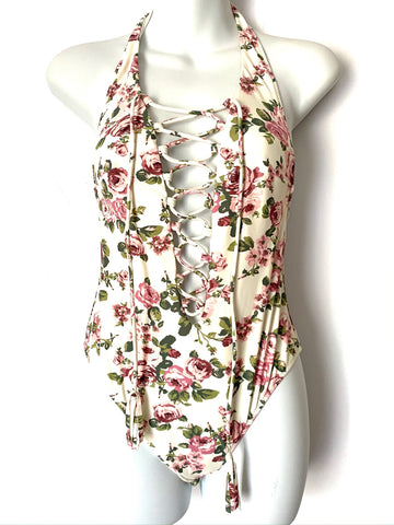 Show Me Your Mumu Tie Up Rose Print One Piece- Size S