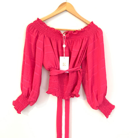 WAYF Bright Pink Off the Shoulder Smocked Waist Top with Belt NWT- Size XS