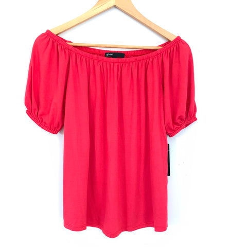 Gibson Red Orange Hot Summer Nights Off the Shoulder Blouse NWT- Size XS