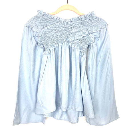 No Brand Baby Blue Smocked Off the Shoulder Bell Sleeve Blouse- Size S