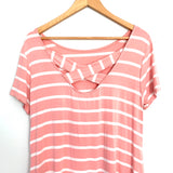 Yelete Pink Stripe Jersey Cotton Shirt Dress with Criss Cross Back- Size S