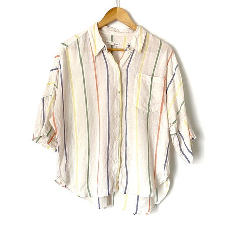 Alex Mill Striped Linen Button Up Top- Size L (see notes)