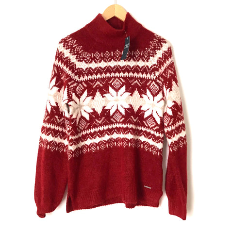 Abercrombie&Fitch Red and White Knit Sweater NWT- Size S