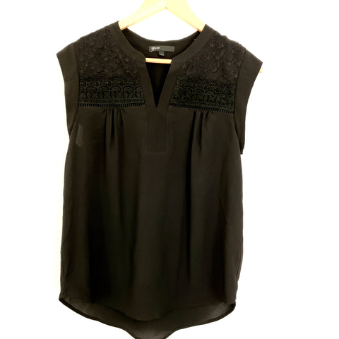 Gibson Black Cap Sleeve With Lace Blouse- Size XS