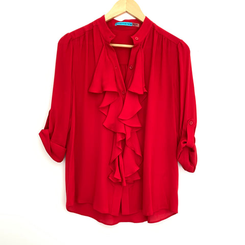 Alice + Olivia Red Silk Ruffle Button Up Blouse- Size XS