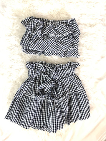 No Brand Gingham Two Piece Short Set- Size S