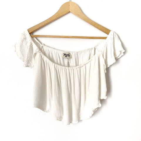 Show Me Your Mumu White Off The Shoulder Crop Top with Split Back- Size S