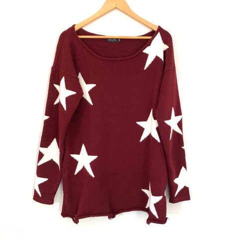 Amaryllis Maroon Star Sweater Tunic with Distressed Details- Size S/M