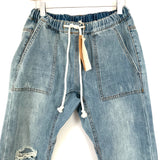 "Mustard Seed Light Wash Distressed Drawstring Jeans NWT- Size S (Inseam 26.5"")"