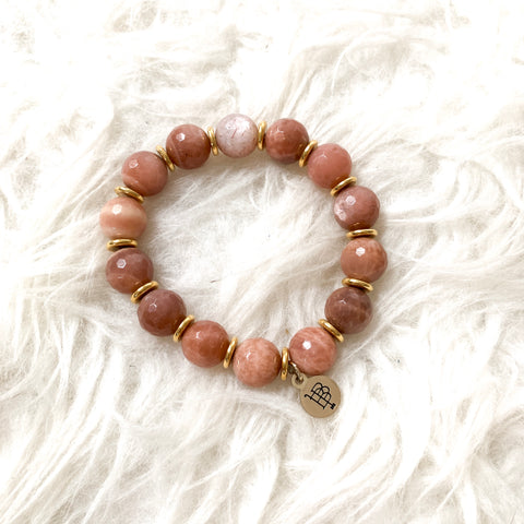 Bourbon and Boweties Blush Pink Beaded Bracelet