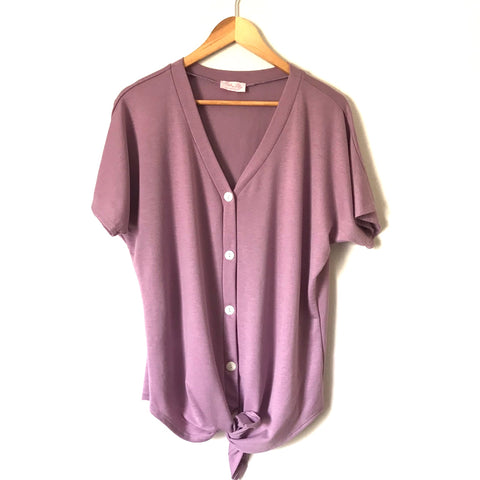 Pink Lily Purple Button Down V Neck Tie Front Short Sleeve Top- Size S