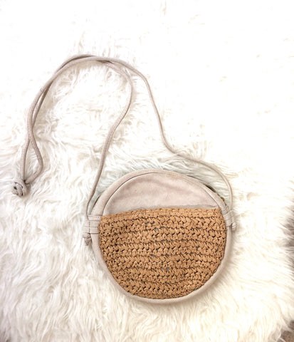 No Brand Suede & Straw Round Cross Body Handbag