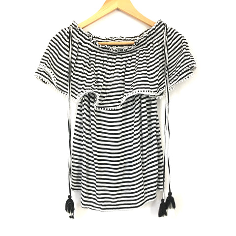 LOFT Black and White Striped Off the Shoulder Top with Tassels NWT- Size XS