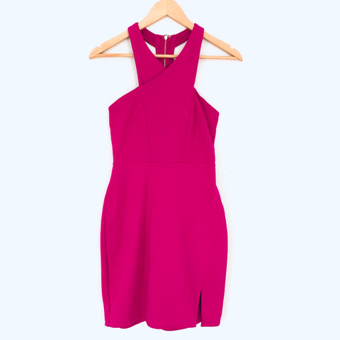 Express Magenta Cross Front Dress with Exposed Back Zipper- Size 0