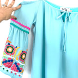 Vava by Joy Han Light Blue Cold Shoulder Embroidered Blouse- Size S