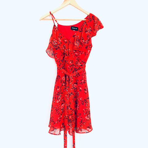 Sugar + Lips Red Floral One Shoulder Ruffle Dress- Size XS