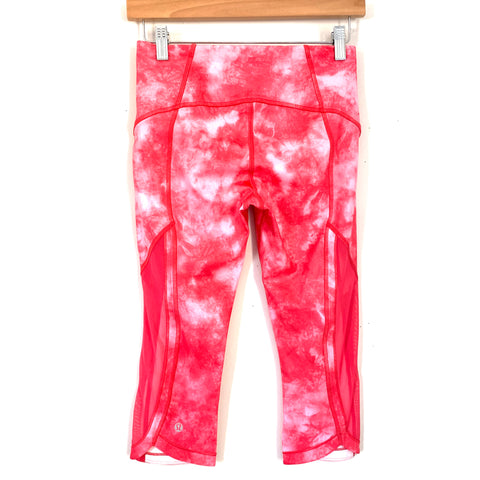 "Lululemon Pink Tie Dye with Mesh Crop Legging- Size 4 (Inseam 16"")"