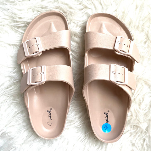 Qupid Nude Double Strap Sandals- Size 40