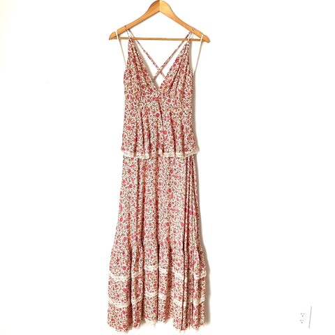 Aakaa Floral Tiered Lace Trim Strappy Back Maxi Dress NWT- Size S