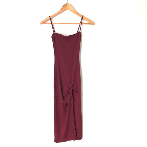 Reformation Jeans Wine Bodycon Ribbed Dress with Front Slit- Size XS