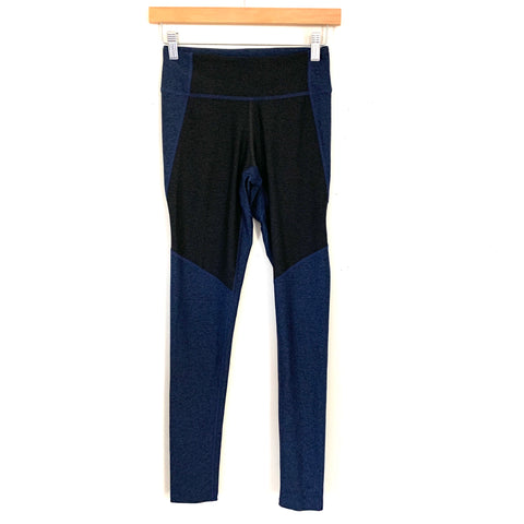 "Outdoor Voices Black/Blue Color Block Leggings- Size XS (Inseam 27"")"
