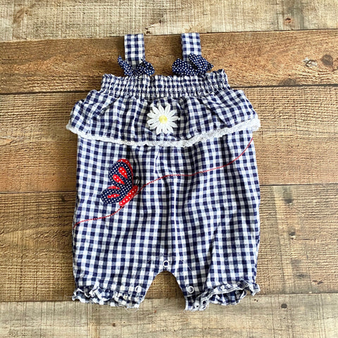 Powell Craft Gingham Butterfly and Flower Outfit- Size 6-12M