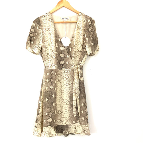 Wild Honey Cream Snakeskin Wrap Dress NWT- Size S