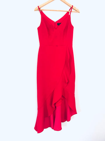 Aqua Dresses Red High/Low Ruffle Dress- Size 0