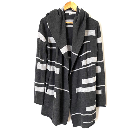 Max Studio Grey Striped Open Front Knit Hooded Cardigan- Size M