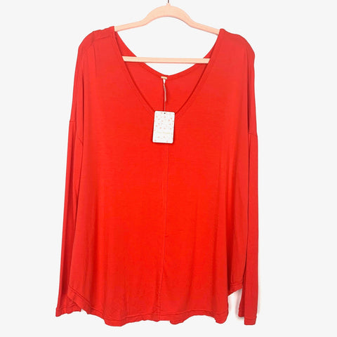 Free People Orange Flowy Long Sleeve Top NWT- Size XS