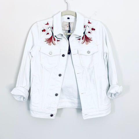 JEN7 By 7 For All Man Kind White Denim Embroidered Jacket NWT- Size XS
