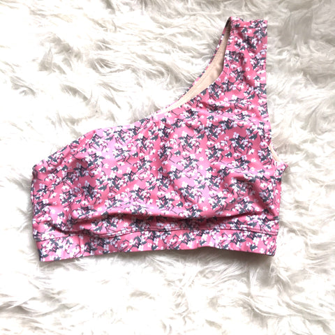 Albion One Shoulder Pink Floral Bikini Top- Size S (TOP ONLY)