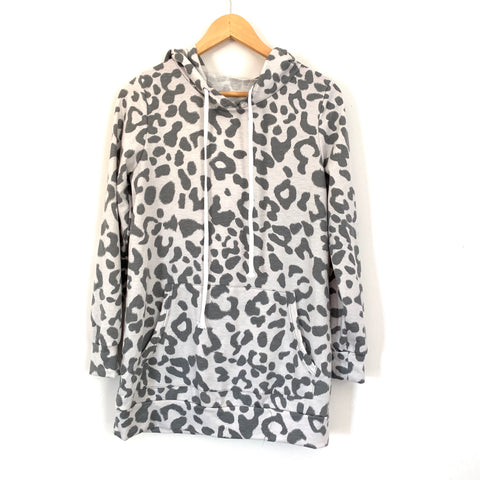 No Brand Grey Leopard Hooded Sweatshirt- Size S