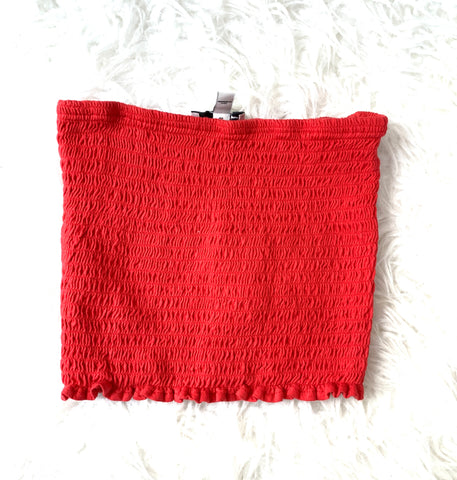 Express One Eleven Red Bandeau Smocked Top- Size XS