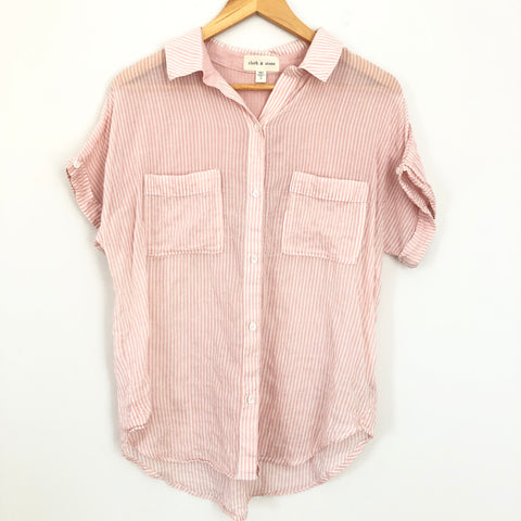 Cloth & Stone Light Pink Stripe Button Up Short Sleeve - Size XS