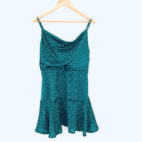Goodnight Macaroon Green Polka Dot Drawstring Waist Dress NWT- Size S