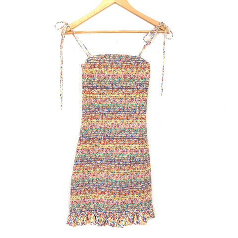 Storia Smocked Fitted Colorful Tie Strap Dress- Size S