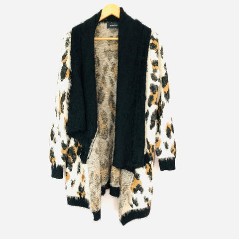 Minkpink Leopard Fuzz Waterfall Cardigan with Pockets- Size XS