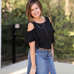 Bobeau Black Cold Shoulder Ruffle Blouse- Size S