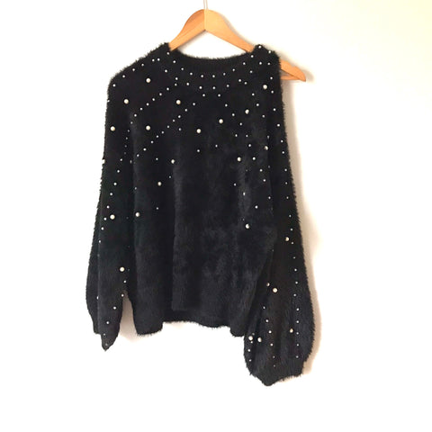 Hashtag in Trend Black Fuzzy Mock Neck Cold Shoulder Sweater with Pearls- Size S