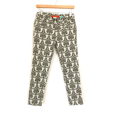 "Anthropologie Cartonnier Charlie Ankle Grey Patterned Ankle Pant- Size 0 (Inseam 25.5"")"