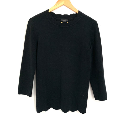 Halogen Black Scalloped Sweater- Size S