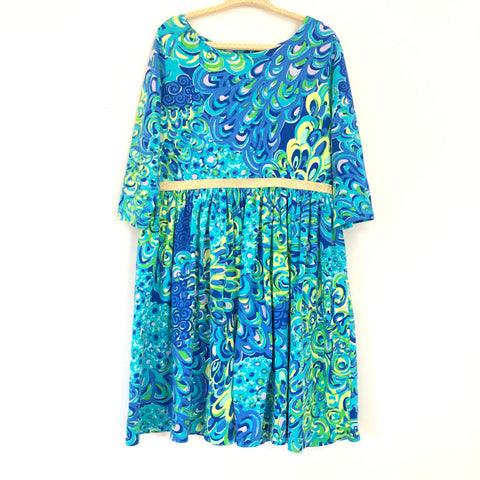 Lilly Pulitzer Girl's Peacock Print Dress with Gold Band- Size 6/7