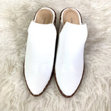 Chinese Laundry White Snakeskin Mules with Block Heel- Size 7