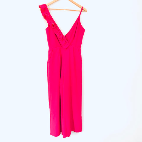 Main Strip Pink Ruffle Cropped Jumpsuit with Shorts Lining- Size S