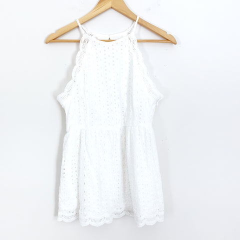Andre by Unit White Eyelet Racerback Blouse with Scalloped Edge- Size S