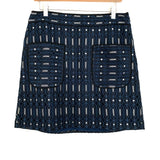 LOFT Black & Blue Patterned Skirt- Size 8