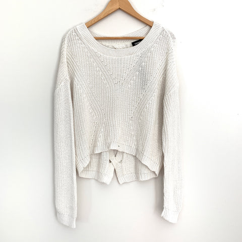 Express White Knit Crop Style Sweater with Open Back Detail NWT- Size S